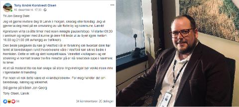 FIKK SVAR: Tony André Korstvedt Olsen var frustrert og henvendte seg til samferdselsministeren mandag. Nå kommer Jon Georg Dale etter å ha svart på Facebook-innlegget hans.