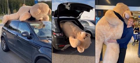 TOPPTUR: Det var ingen enkel oppgave å få teddybjørnen Kjell med på biltur. Nå venter nye utfordringer for Frank Løke og bamsen.