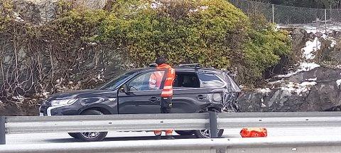 Betydelig skade på en av de involverte bilene.