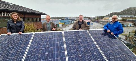 Solcellepanelet er på plass når Neas og West Elektro skal utvikle nye tjenester til kundene. Rekordomsetningen i 2019 gleder Gunn Torild Brevik (fra venstre), Jan Arve Korsfur, Alf Hjelmaas og Knut Hansen.