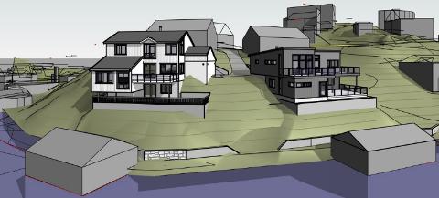 NYE TEGNINGER: Slik ser utbyggerne for seg at de to nye husene med båtstøer på den sydlige siden av Sundeodden kan bli seende ut sett fra vest.