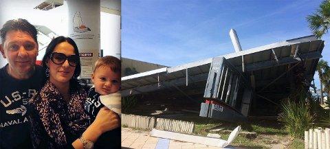 Frode «Offaen» Hellesø (f.v.), forloveden Tatjana Solberg og sønnen Oliver (6 mnd.) ferierer i Florida, midt i orkanen «Matthews» beregnede bane.