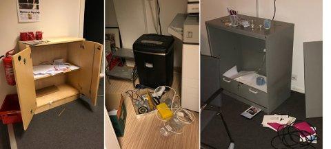 Slik så det ut i Kreftforeningens lokaler etter at noen hadde brutt seg inn.