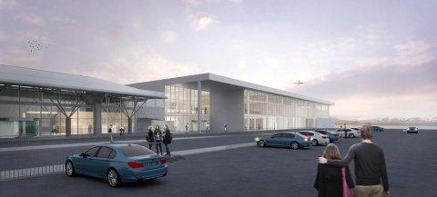INNGANGSPARTIET: Omtrent slik vil det nye terminalbygget bli seende ut - koblet sammen med dagens bygningsmasse - sett fra parkeringsplassen.