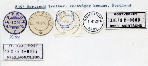 Det første datostempelet fra Mortsund poståpneri, som ble opprettet i desember 1890, var av den såkalte «sveitsertypen» med åpen stjerne (helt t.v. i bildet).