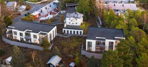 Slik kan det bli seende ut rett bak Tjøme sentrum i Kirkerønningen. Her er det søkt om å bygge en firemannsbolig og en seksmannsbolig.