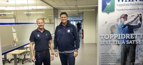 Satser igjen: Petter Wilhelmsen (til venstre) og Håvard R.F. Johansen fra Wang Toppidrett vil ha idrettsungdomsskole i Fredrikstad. Hvis søknaden blir godkjent, kan oppstart bli høsten 2017.arkivfoto: erik a. pedersen