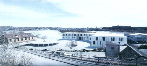 TIL POLITISK BEHANDLING IGJEN: Dette er skissen over bygget Sleipner vil reise på Bruket på Gressvik, sett fra Lenafjellet med Værste på motsatt side av elva.