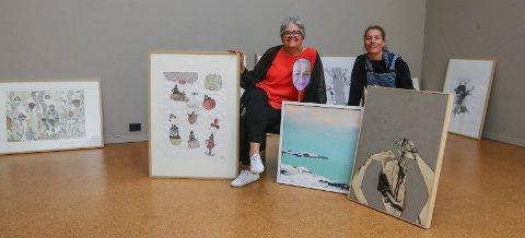 Tre dager: Gry Haugland (til venstre) og Cahtrine Boman ønsker velkommen til utstilling første helgen i juni. Veronica Normann Jensen har laget bildet i midten og kan anes i «ballongen».