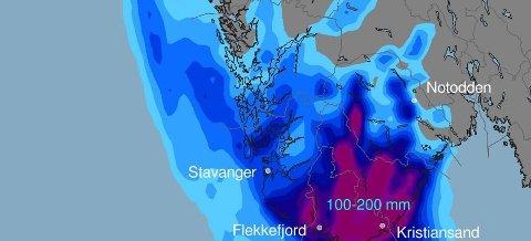 OBS: Meteorologene har sendt ut OBS-varsel for Telemark, fordi det ventes store mengder nedbør. (Illustrasjon: Meteorologisk institutt)