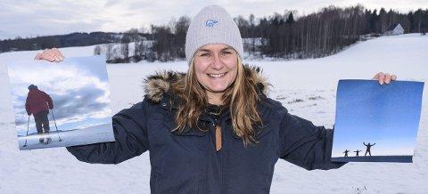 VINNER: Marte Gro Strandbakken Blien med et par av bildene hun har tatt under familiens fritidsaktiviteter                             på jordene omkring Lena.Foto: Sæmund Moshagen