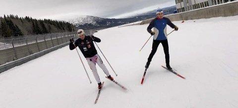 Preben Horven, B&Y IL (t.h.) og Sigurd Aarthun, Åga IL, i trening på ACR denne uka. Det blir få nasjonale renn på de hardtsatsende langrennsløperne denne vinteren.