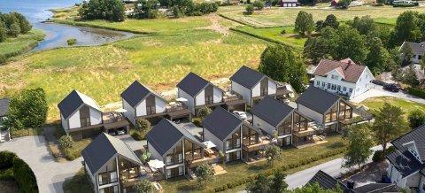 STORØYAVEIEN: Ni boliger, fordelt på to rekker, skal bygges i nummer 8-14. Salget er er i gang. (Illustrasjon: Kollen Bolig)
