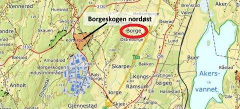 BORGESKOGEN: Naboene i B0Orgegrenda (rød ring) har kommet med mange innspill til planene om utvidelser mot nordøst. (Illustrasjon: Format Eiendom)