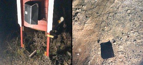 Postkasselokket (bilde til høyre) skal angivelig ha flydd flere meter vekk fra den sprengte postkassa på stativet, ifølge innringeren.
