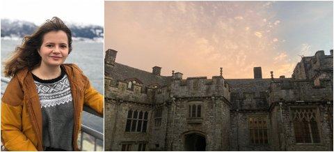 SLOTT: Andrea Alvik frå Leikanger tek andre året vidaregåande på eit slott i Wales.
