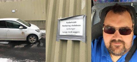 IRRITERANDE: Bjørn Fardal fekk ikkje parkert skulebussen då bilen sto i vegen.