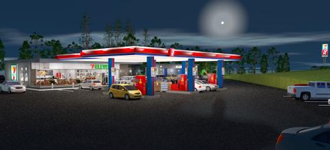 Slik blir de nye YX 7-Eleven-stasjonene seende ut. Den nye bensinstasjonskjeden starter opp i 2019. (Foto: Reitangruppen)