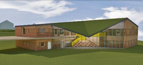 GLASS: Den nye kommunale barnehagen får fasader i glass og tre.