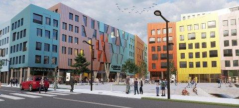 Planforslaget for Campus Kristiansund ønsker å gi et fargerikt, åpent og imøtekommende uttrykk mot omgivelsene.  Et sentralt element er et sørvendt torg som knytter sammen Fosnagata med to nybygg.