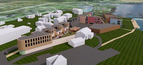 SENTRUM: Slik ser skissen av nye Eina sentrum ut. Ny Kiwibutikk med ekstra næringslokaler og leiligheter til venstre, parkeringsbygg i midten, leiligheter og næringsbygg mot Einafjorden og Fjordgata.