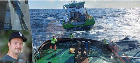 HEKTISK START PÅ PAPPAPERM: Samme dag som Kristian Hjertvik (innfelt) startet pappapermisjon fra AQS AS, falt den nye servicebåten fra et nederlandsk frakteskip. Han fryktet det verste, men er desto mer lettet over at nybåten til selskapet er berget. Onsdag kveld startet slepet inn til Florø.
