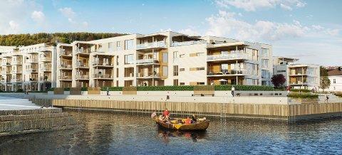 STORT PROSJEKT: Wegger & Kvalsvik Entreprenør skal bygge første byggetrinn på Sanden Brygge i Larvik. Prosjektet har en foreløpig verdi på 158 millioner kroner.