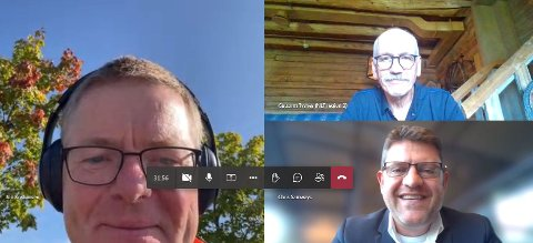 KLART BUDSKAP: Regiondirektør Jon Kristiansen i NHO Innlandet (t.v.),  styreleder Chris Samways i 7sterke og Guttorm Tysnes i Norges Lastebileier-Forbund (øverst t.h.) oppfordrer til E16-enighet.