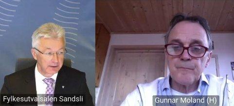 Fylkestinget: Fylkesordførar Jon Akseland (Sp) og Gunnar Moland (H) under det digitale møtet i Vestland fylkesting onsdag 10. mars. Skjermdump: Vestland fylkeskommune