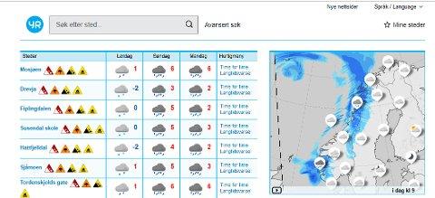 Mosjøen og Helgeland har fått alle de kraftige varslene for døgnet som kommer. Stor snøskredfare, Svært mye regn, Jordkredfare og Flomfare. Det er oransje nivå for Svært mye regn, og det er det høyeste nivået. Illustrasjon: Skjermdump fra YR