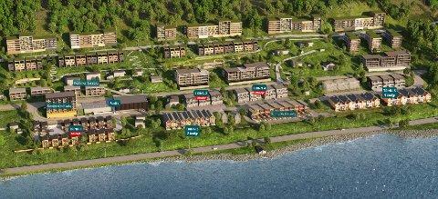 MER OG MINDRE: Utbyggerne foreslår nå at de nedre rekkehusfeltene skal få færre boliger, mens blokkene rett på oversida av Solstrandvegen skal bli halvannen etasje høyere.