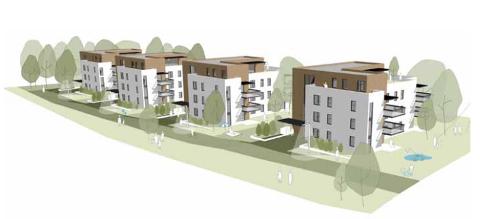 Dette er det foreløpige tegningene på hvordan de nye blokkene på Leikvollen kan bli, laget av arkitektfirma Dyrø og Moen.