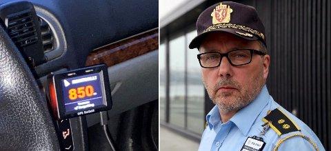 VARSLET - BLE TATT: Det varsles om fartskontroller både via Facebook og GPS-radarer som denne, men ikke alltid går det som bilistene hadde tenkt, sier UPs distriktsleder Geir Marthinsen. Foto: UP/Nordlys