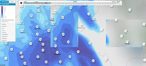 NEDBØR: Meteorologisk institutts prognoser viser mørke skyer over Indre Østfold.