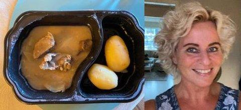 – TYNN SUPPE: Mandag var Bente Pedersen på besøk hos faren Harald (79). Han får mat sju dager i uka via LBAS, Levanger Bo- og Aktivitetssenter og betaler 80 kroner for hvert måltid. Da hun skulle ta av plastikken for middagen hans mandag ble hun overrasket.