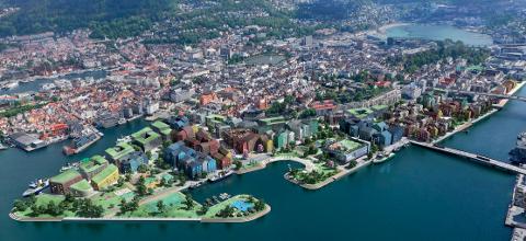 En skisse av en fremtidig Dokken. Det er ute på tuppen at Havforskningen og Fiskeridirektoratet har landet. Den fremtidige bybane- og gang- og sykkelbroen ligger lenger inne i Puddefjorden.