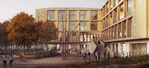 Sambruk: Det legges opp til at Frederik II skal brukes også utenom skoletid. Her er inngangspartiet i ett av arkitektforslagene.