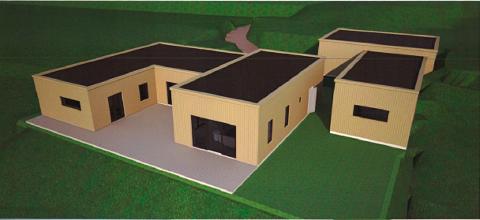 Tirsdag skal politikerne i Øyer bestemme om det skal gis mulighet for å bygge dette huset i Nerlifeltet i Øyer kommune. Striden står om flatt tak eller saltak.