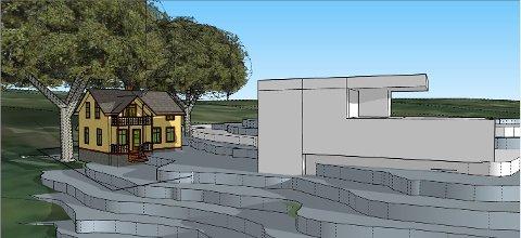 TAR UTSIKTEN: Rob Hazes har laget en 3D-tegning over hvordan huset hans vil se ut i forhold til den nye, planlagte bygningen. Den tar all utsikt, og mye lys.