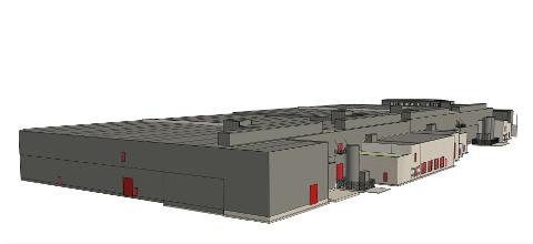 ENDRAR TEIKNINGANE: Slik vil produksjonshallen til Årdal Aqua sjå ut inn mot gardsrommet på tomta. Den lange fasaden på baksida vender ut mot Storånå. Administrasjonsbgget kan skimtast i bakgrunnen oppe til høgre i bildet