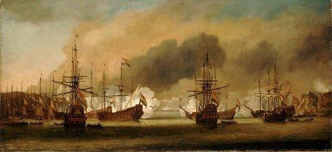 Det var dramatiske scener da engelskmennene og hollenderne brakte sammen i Slaget på Vågen i 1665. Bergenhus Festning var også med i slaget da de måtte beskytte den nøytrale havnen. Maleri av Willem van Der Velde.