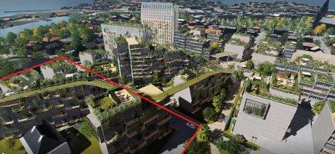 At det røde området er tatt ut av områdeplanen, gjør at turstien over leilighetene på Cicignon Park vil stoppe i løse luften.