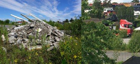 TAR SEG TIL RETTE: En eller flere personer bruker anleggsplass på Hafslundsøy til oppbevaring av avfall.