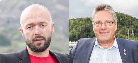 IKKE PÅ GJERDET: - Vi sitter ikke på gjerdet i Norske Skog-saken, sier Aps gruppeleder Arve Sigmundstad (til v.) og ordfører Thor Edquist. De kjenner seg ikke i HAs lederartikkel fredag.