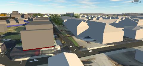 BLOKKER NÆR FABRIKK: Illustrasjonen synder Potetmjølfabrikken på Klepp stasjon (til høgre i bildet) og dei nye bustadblokkene som er planlagt i nærleiken. Vegen i front er Lalandsvegen.