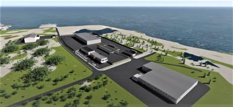 FERDIG OM TO ÅR: Slik kan det nye avfallsanlegget til MNA på Spillum bli seende ut, når det skal stå klart til bruk i midten av 2023.