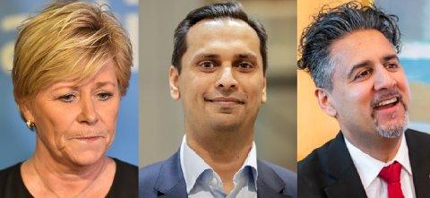 PÅ STORTINGET: Siv Jensen (Frp), Mudassar Kapur (H) og Abid Raja (V). Foto: NTB scanpix