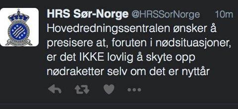 IKKE LOV: Hovedredningssentralen Sør-Norge så seg nødt til å legge ut denne Twitter-meldinga i formiddag.