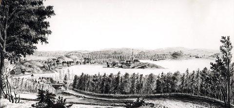 """BRUNLANESVEIEN. Den gamle veien langs Raet til Helgeroa ble anlagt først på 1680-tallet som en av Norges første kjøreveier. Veistykket på denne tegningen er sett litt ovenfor Langestrand omkring 1800. Veien kom opp fra Kirkegata og fortsatte oppover Veldre og gjennom det som fra 1860-åra ble Fritzøeparken. Se også bilde under """"Veldrebakken""""."""