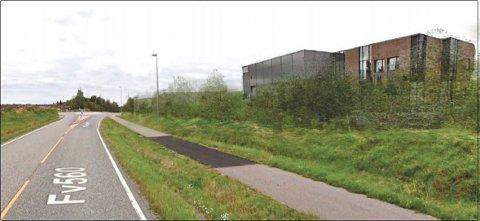 BORGESKOGEN: Tegningen viser nærvirkning for fylkesvei 3160 Gryteveien mot nord, før den planlagte rundkjøringen med busstopp i felt Nordøst. (Illustrasjon: Orre)